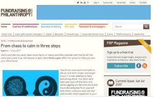 Fundraising and philanthropy article on finding calm in 3 easy steps by Petris Lapis